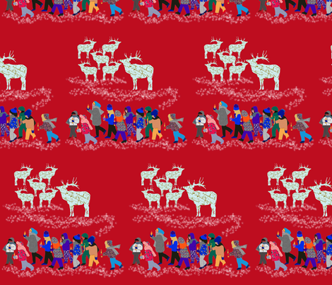 French Script Reindeer and the children of Fairy Lake fabric by karenharveycox on Spoonflower - custom fabric
