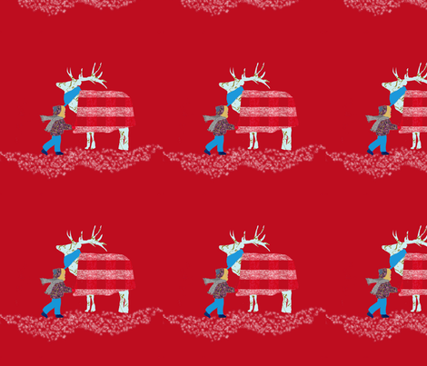 Samantha_s_French_Script_Reindeer fabric by karenharveycox on Spoonflower - custom fabric