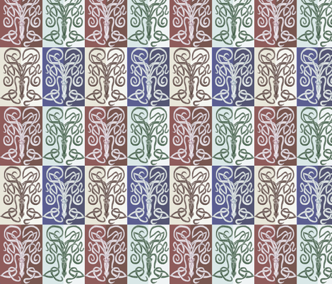 Foursquare Squid  fabric by wren_leyland on Spoonflower - custom fabric