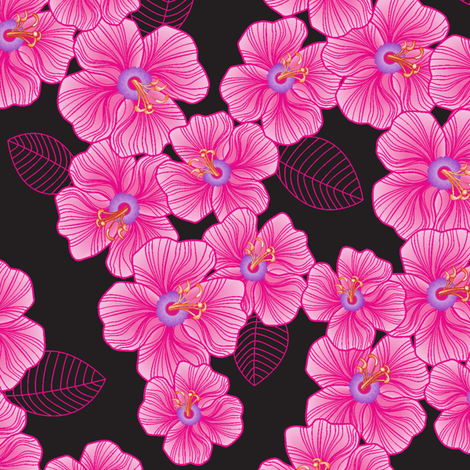 Pink on black fabric by juliagrifol on Spoonflower - custom fabric