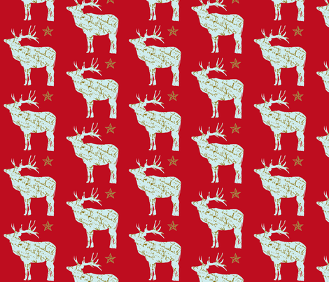 French Script Reindeer and Star on red fabric by karenharveycox on Spoonflower - custom fabric