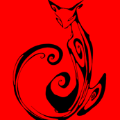 Inkblot Cat on Red