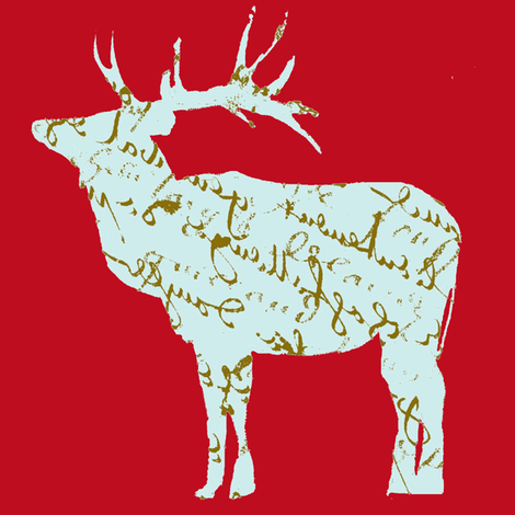French Script reindeer on red fabric by karenharveycox on Spoonflower - custom fabric
