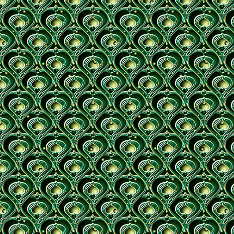 Hearts and Pears in Emerald fabric by glimmericks on Spoonflower - custom fabric