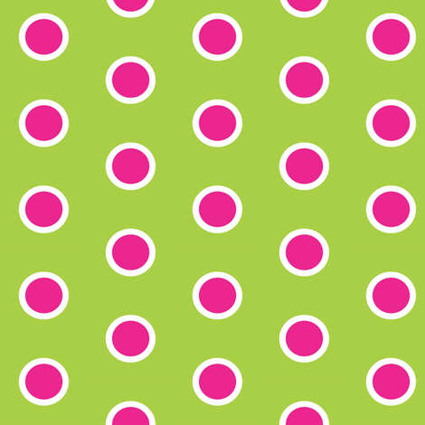 Frosted Pink Polka on Lime fabric by smuk on Spoonflower - custom fabric