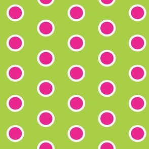 Frosted Pink Polka on Lime