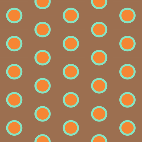 Retro Teal Dipped Orange Polka on Mocha fabric by smuk on Spoonflower - custom fabric