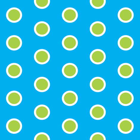 Green Lily Pad Polka Dots on Blue Pond fabric by smuk on Spoonflower - custom fabric