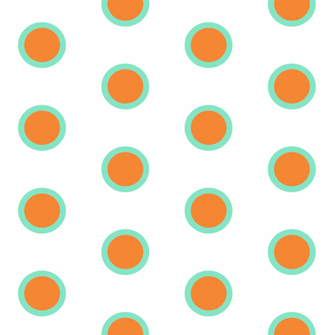 Retro Teal Dipped Mandarin on Snow Polka fabric by smuk on Spoonflower - custom fabric