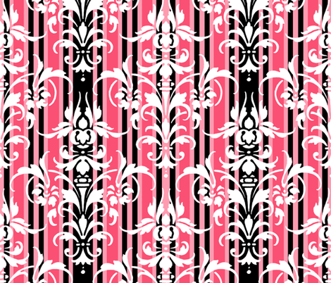 Paris Stripe Damask  fabric by peacoquettedesigns on Spoonflower - custom fabric