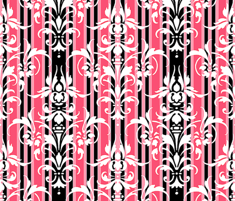 Paris Striped Damask HDR fabric by peacoquettedesigns on Spoonflower - custom fabric