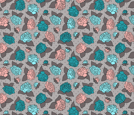 BEAU_FLEUR_peachy_teal fabric by glorydaze on Spoonflower - custom fabric