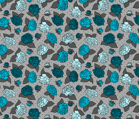 BEAU_FLEUR_rose_bleu fabric by glorydaze on Spoonflower - custom fabric
