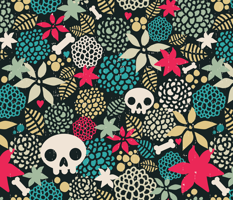 Skull and flower. fabric by panova on Spoonflower - custom fabric