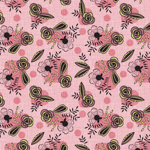 Mid century floral pink