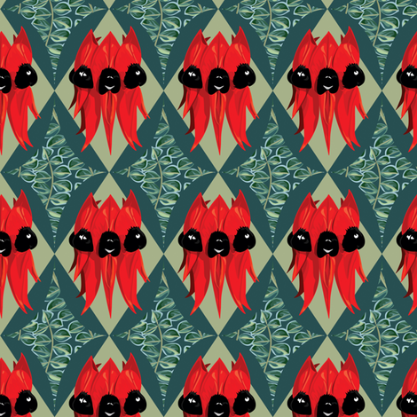Sturt Desert Pea - diamond with leaves fabric by bippidiiboppidii on Spoonflower - custom fabric
