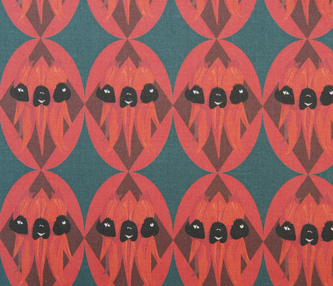 Sturt Desert Pea - red on teal