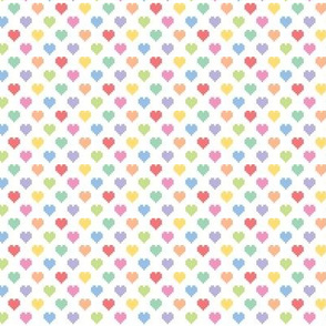 Tiny pixelated multicolored hearts