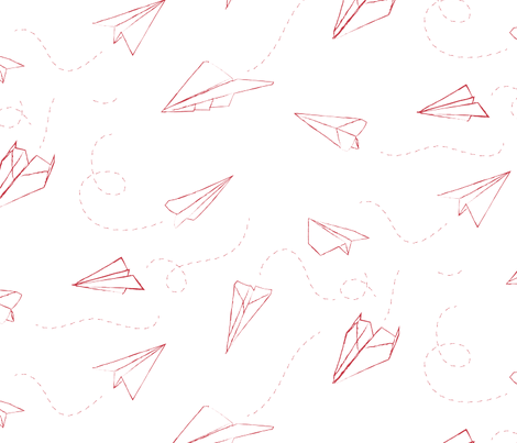 paper_aeroplanes_flying_red_large scale fabric by owls on Spoonflower - custom fabric