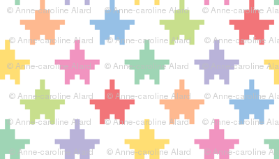 Tiny pixelated multicolored stars