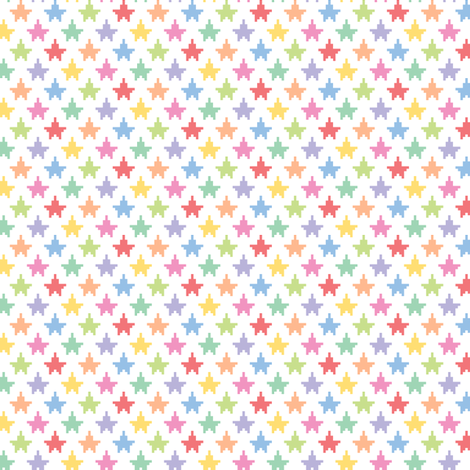 Tiny pixelated multicolored stars fabric by petitspixels on Spoonflower - custom fabric