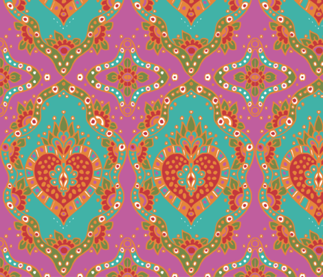 India Teal Repeat fabric by carrietasman on Spoonflower - custom fabric