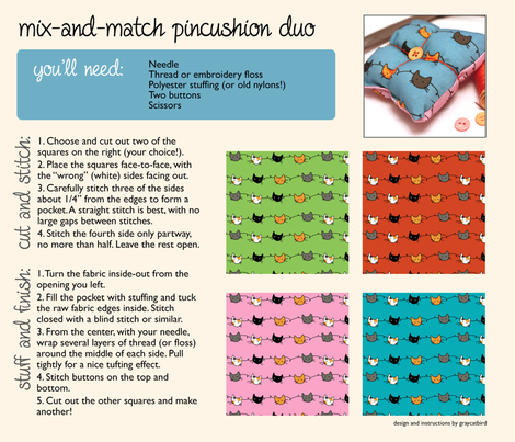 Mix-and-Match Pincushion Duo fabric by graycatbird on Spoonflower - custom fabric