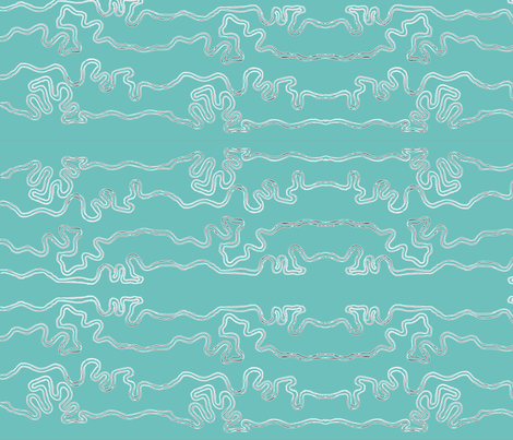 wavy lines horizontal - colormap W16 green-turquoise  fabric by mina on Spoonflower - custom fabric