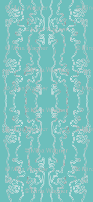 wavy lines vertical - colormap W16 green-turquoise