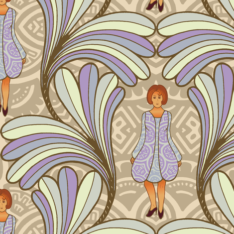 Decorative leafs with girl fabric by lilichi on Spoonflower - custom fabric