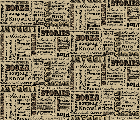 A Book Lover's Medley (Brown) fabric by robyriker on Spoonflower - custom fabric