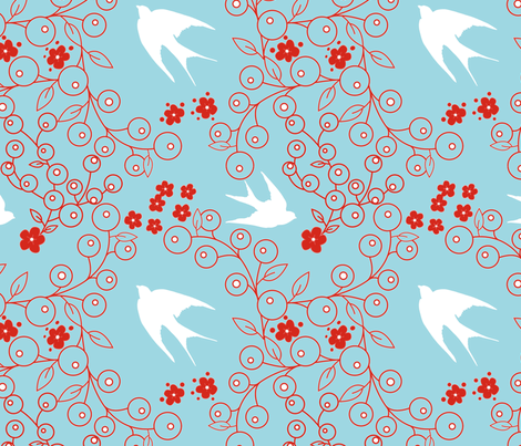 swallows fabric by trinic on Spoonflower - custom fabric