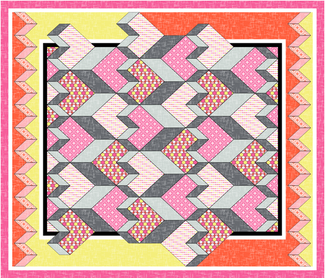 Heart of the Chevron Quilt - Pink Glass fabric by inscribed_here on Spoonflower - custom fabric