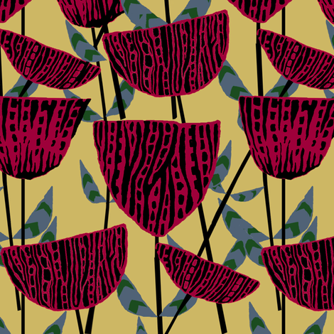Deco Flowers fabric by linsart on Spoonflower - custom fabric