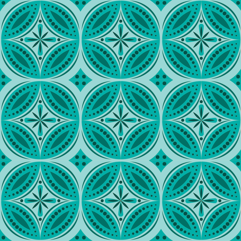 Moroccan Tiles (Blue Green) fabric by shannonmac on Spoonflower - custom fabric