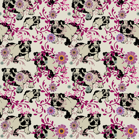 find the bulldog fabric by lil_creatures on Spoonflower - custom fabric