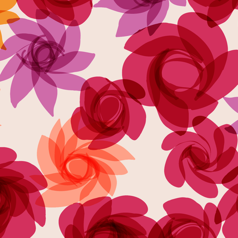 Cocktail Flowers reds fabric by modernprintcraft on Spoonflower - custom fabric