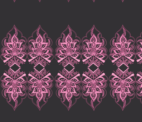 Mehndi Flower Border Pink fabric by joonmoon on Spoonflower - custom fabric