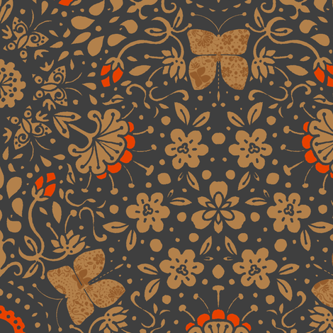 Garden's Fury in Tangerine - © Lucinda Wei fabric by simboko on Spoonflower - custom fabric