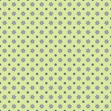 Tiny gear green fabric by petitspixels on Spoonflower - custom fabric