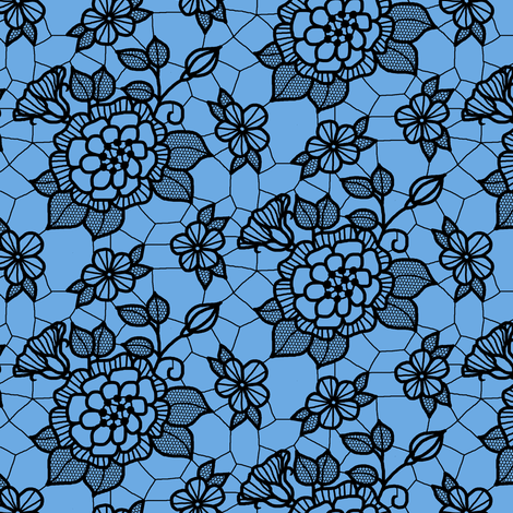 Black lace flower on blue  fabric by victorialasher on Spoonflower - custom fabric