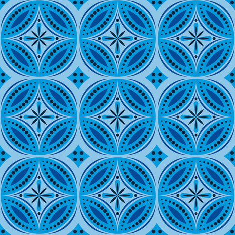 Moroccan Tiles (Blue) fabric by shannonmac on Spoonflower - custom fabric