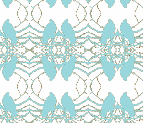 Birds__blue fabric by katiemadeit on Spoonflower - custom fabric