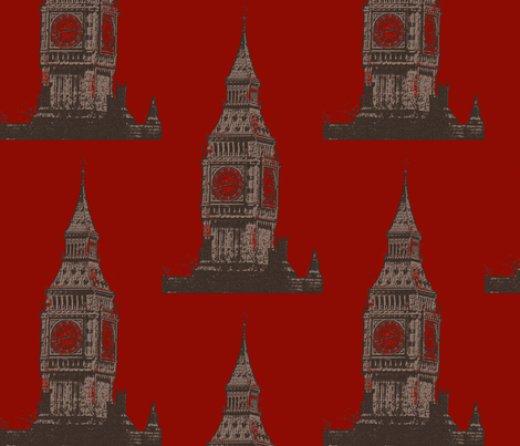 Big_Ben_red fabric by katiemadeit on Spoonflower - custom fabric