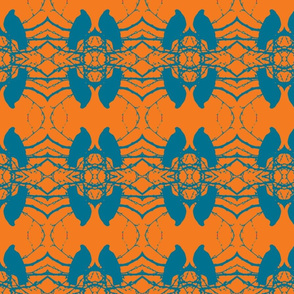 Birds, orange, turquoise