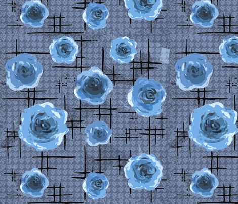 50s blue roses fabric by fantazya on Spoonflower - custom fabric