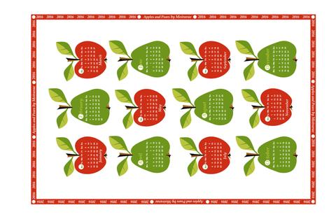 2016 - Apples & Pears Calendar fabric by moirarae on Spoonflower - custom fabric