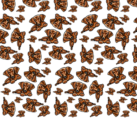 Lots of Dachshunds White fabric by offleashart on Spoonflower - custom fabric