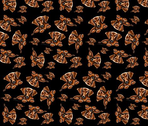 Lots of Dachshunds Black fabric by offleashart on Spoonflower - custom fabric