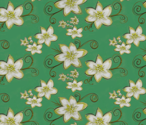 Flowerly - green version fabric by catru on Spoonflower - custom fabric